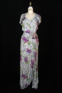 Geraldine Clapp - Gray Dress with Magenta and Lime Green Design and Hanging Berries (1930s)