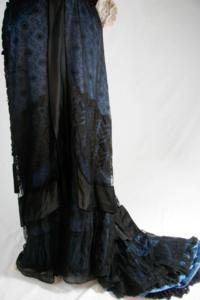 Unknown - Blue and Black Dress with Lace Overlay (1910s)