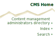 Navigation text is Content management administrators directory
