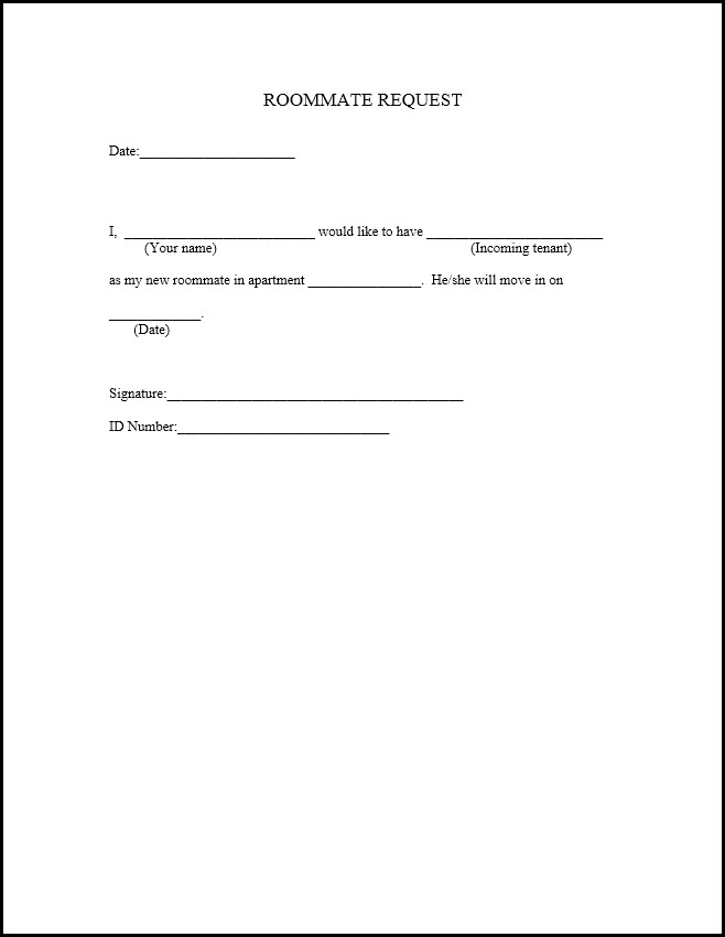 Roommate Agreement Form Template - Roommate application template