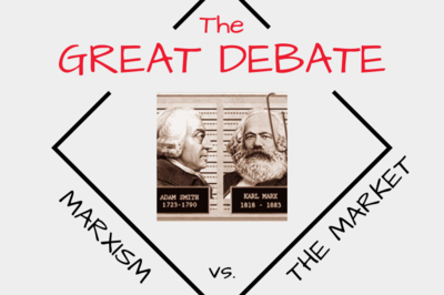 "Photos of Adam Smith and Karl Marx with the words ""The Great Debate: Marxism vs. The Market"""