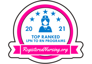 Click badge image for story on top online LPN to RN program