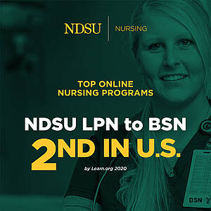 Infographic link to article on LPN to RN program 2nd in US