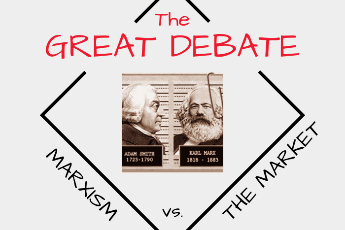 "Photos of Adam Smith and Karl Marx with the text ""The Great Debate: Marxism vs. The Market"""