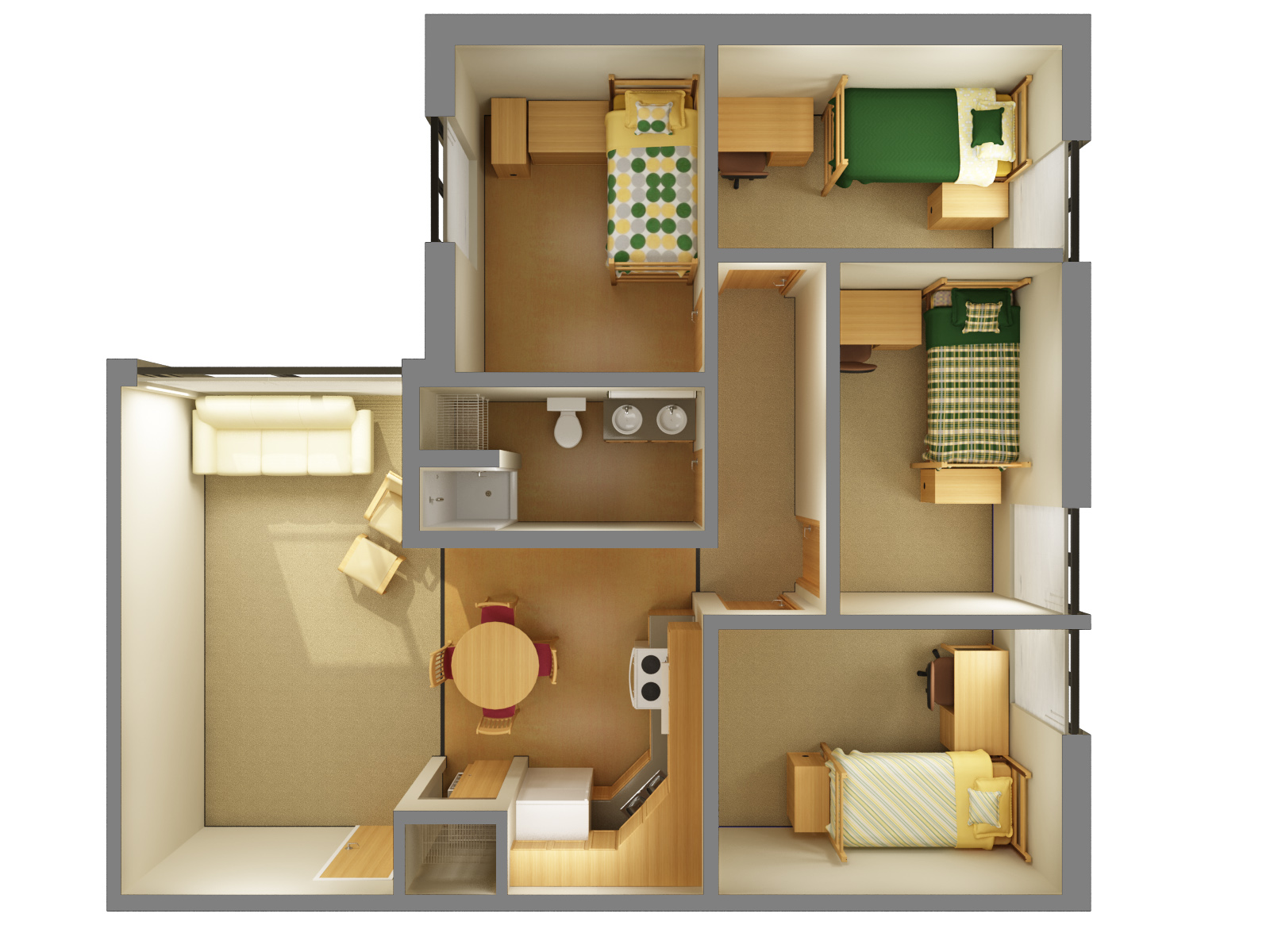 Mathew living learning centers residence life ndsu for Quad apartment plans