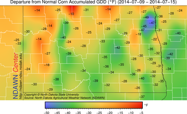 Departure from Average Corn Growing Degree Days