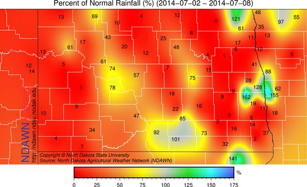North Dakota Precipitation from Normal