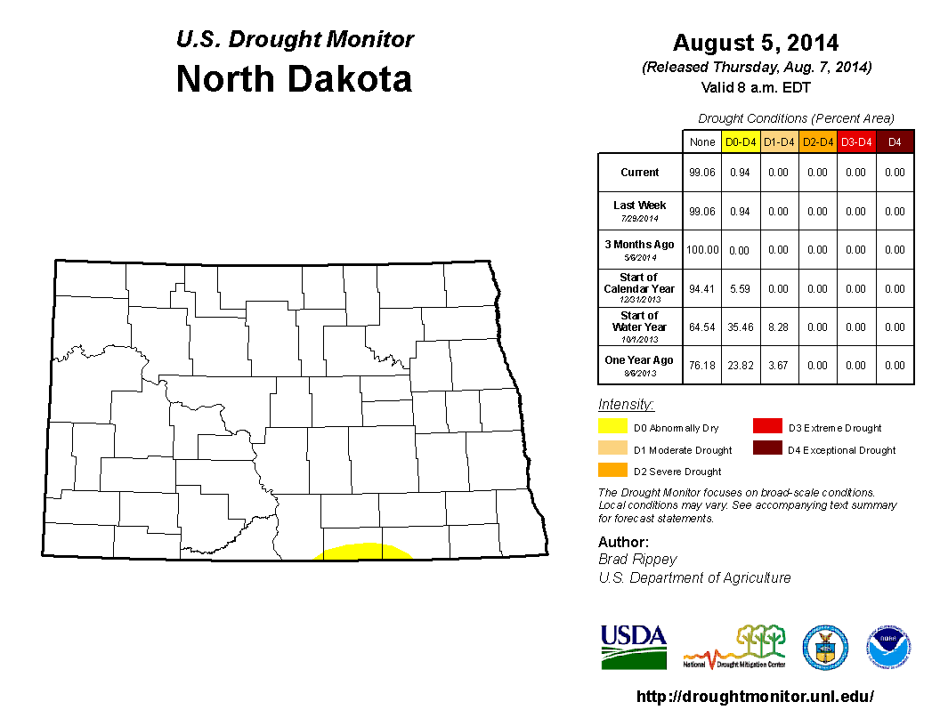 Drought Monitor from August 5, 2014
