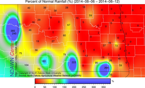 Percent of Normal Rainfall from August 6 through 12, 2014
