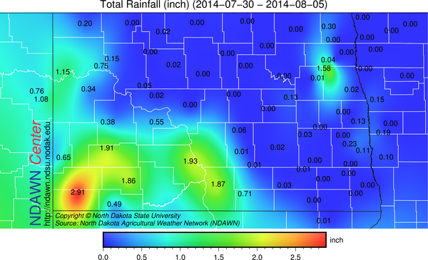 Total Rainfall during the past 7 days.