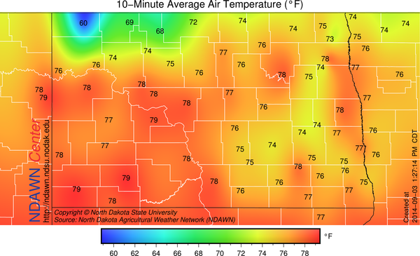 1:30 PM temperatures including the Wahpeton and Wyndmere NDAWN stations