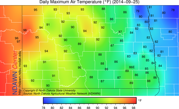 September 25, 2014 High Temperatures at the NDAWN stations