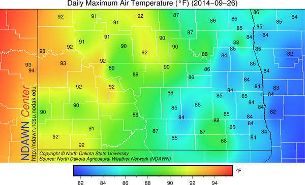 September 26, 2014 High Temperatures at the NDAWN stations