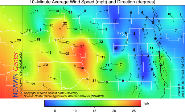 7:45 AM Wind Speed and Direction