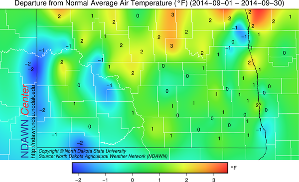 Departure from Normal Temperatures for September 2014