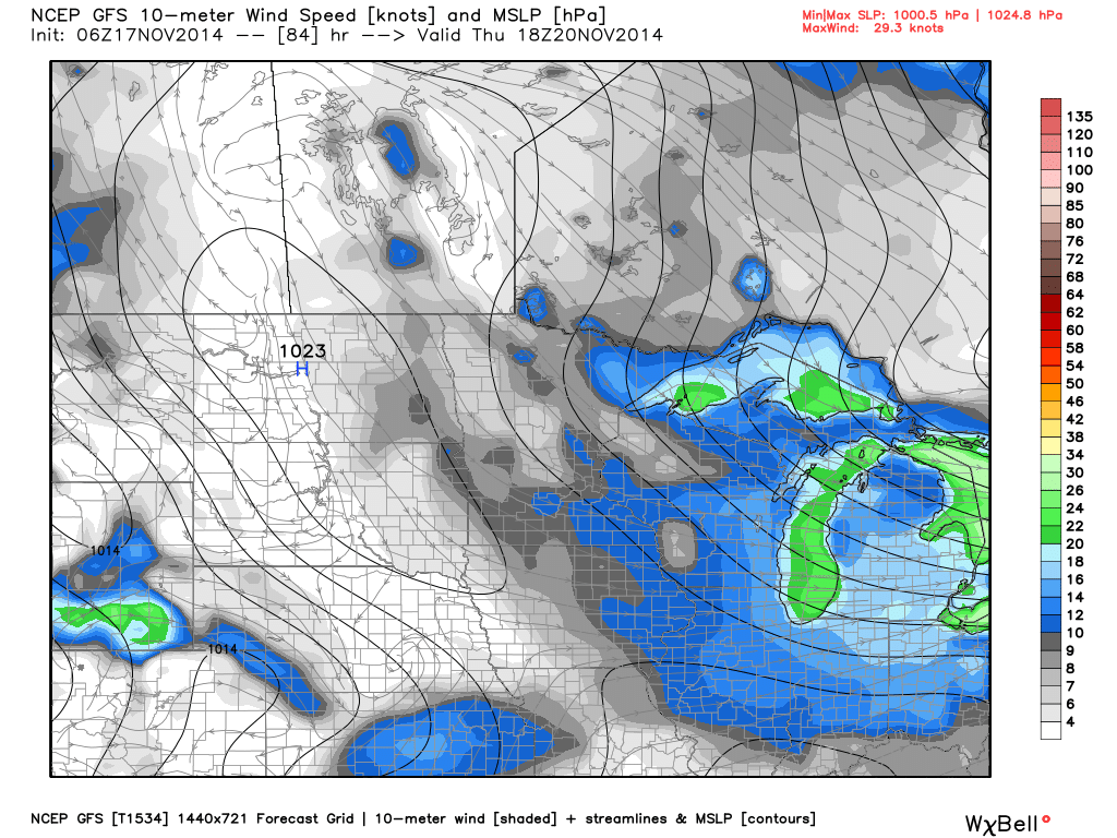 Projected Surface Conditions and Wind Speeds Thursday, November 20, 2014