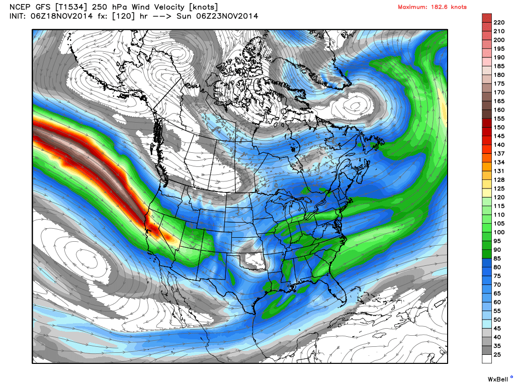 Projected 250 mb chart on Saturday Night