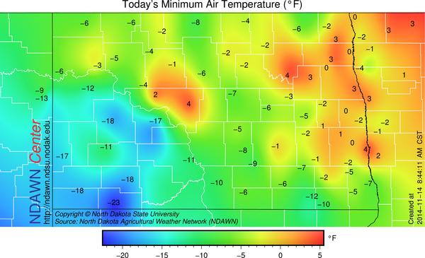 November 14, 2014 NDAWN minimum temperatures