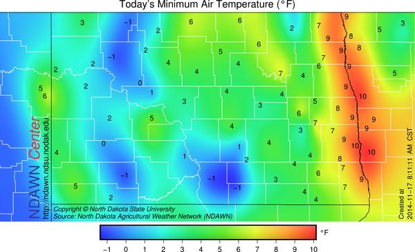 November 17, 2014 Minimum Temperature