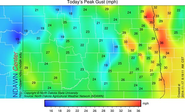 Peak Wind Gust through 8:10 AM