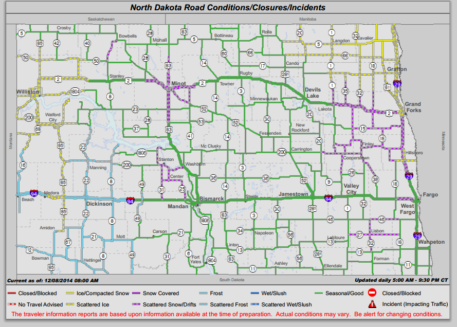 ND Road Conditions this morning