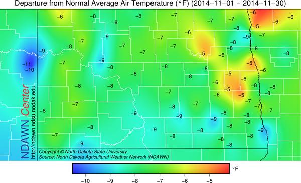 Temperature Departures from Average November 2014