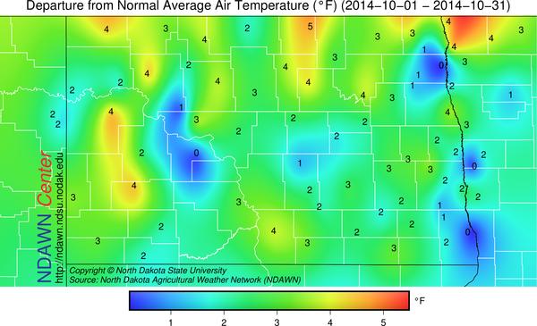 Temperature Departures from Average October 2014