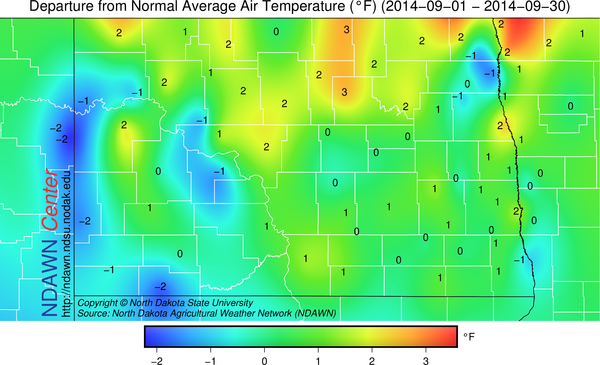 Temperature Departures from Average September 2014