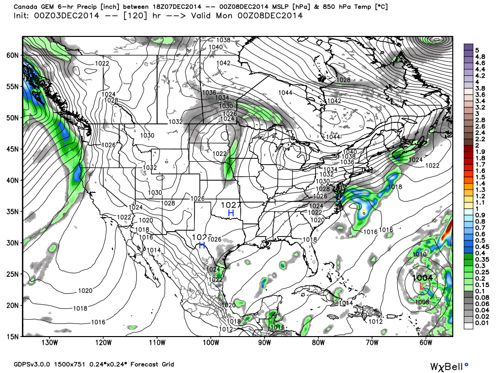 Surface Pressure and precipitation for Sunday PM