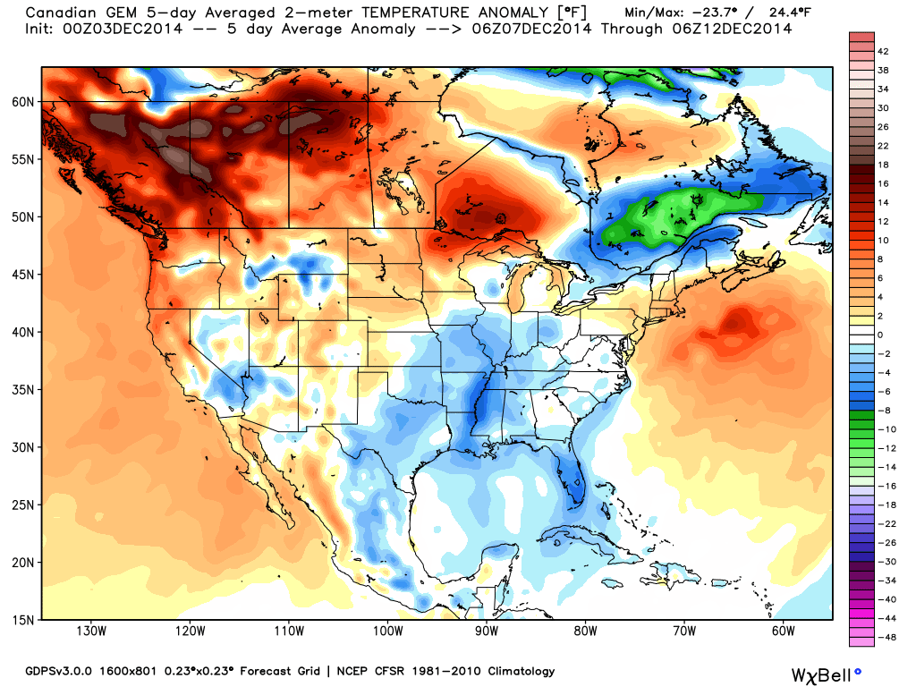 Projected Temperature anomaly for December 7 through 12