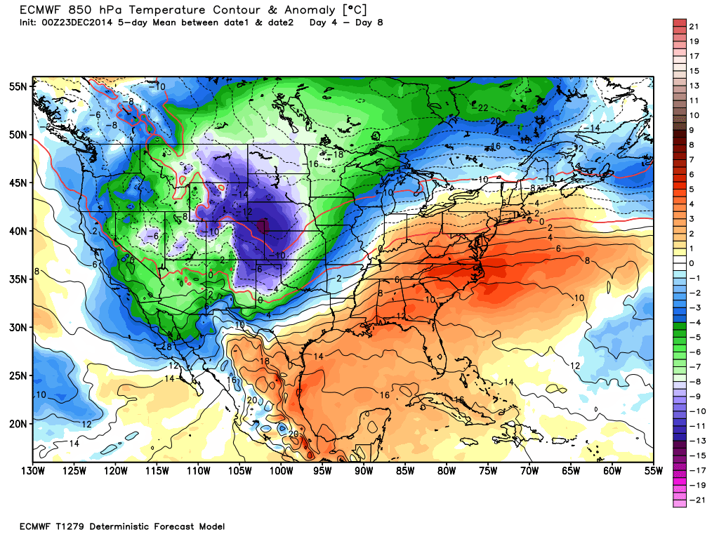 Temperature Anomaly at 850 mb center on Wednesday December 31.