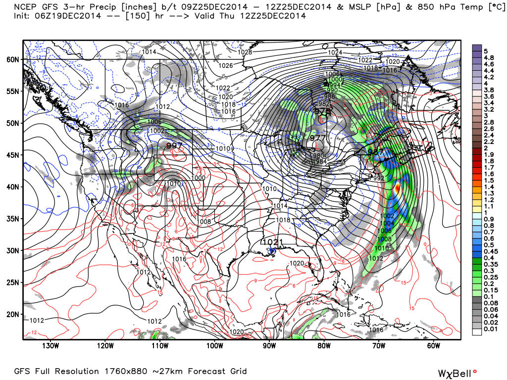 Christmas Day Projection from GFS guidance.
