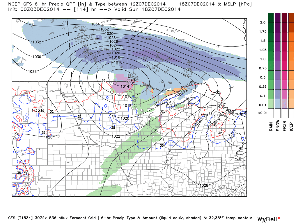 Projected Surface and Precipitation at Noon Sunday, December 7, 2014 (GFS)