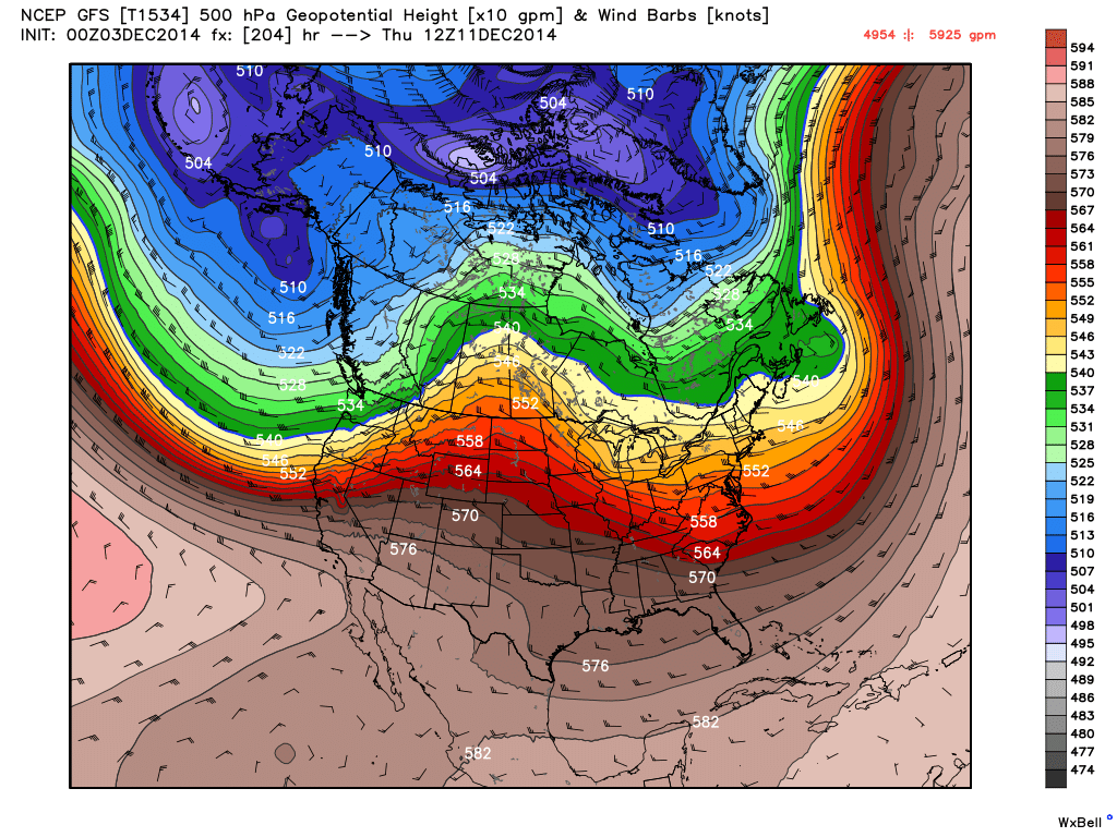 500 mb Heights and wind for Thursday December 11