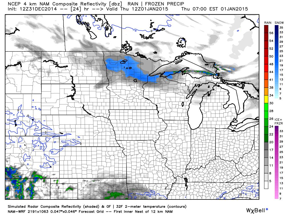 Simulated Radar for 6:00 AM January 1, 2015