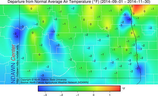 Autumn 2014 Temperature Anomalies from Average