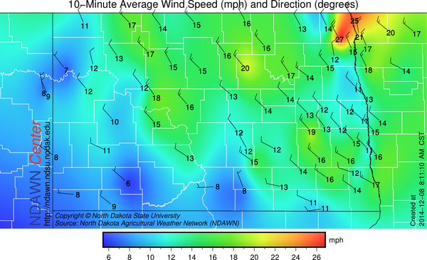 8:00 AM Wind Speed and Direction