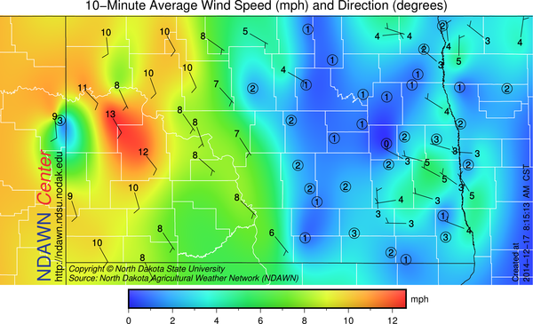 8:15 AM Wind Speed and Directions