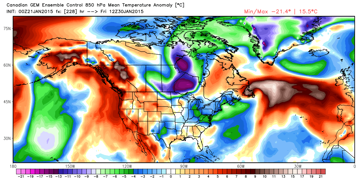 Projected 850 mb (around 4000 feet aloft) temperature anomalies for Friday January 30, 2015