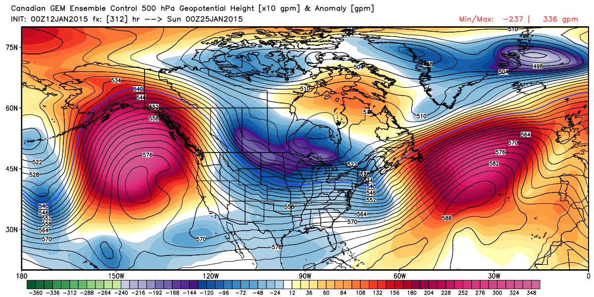 End of January Progged 500 mb flow and anomalies