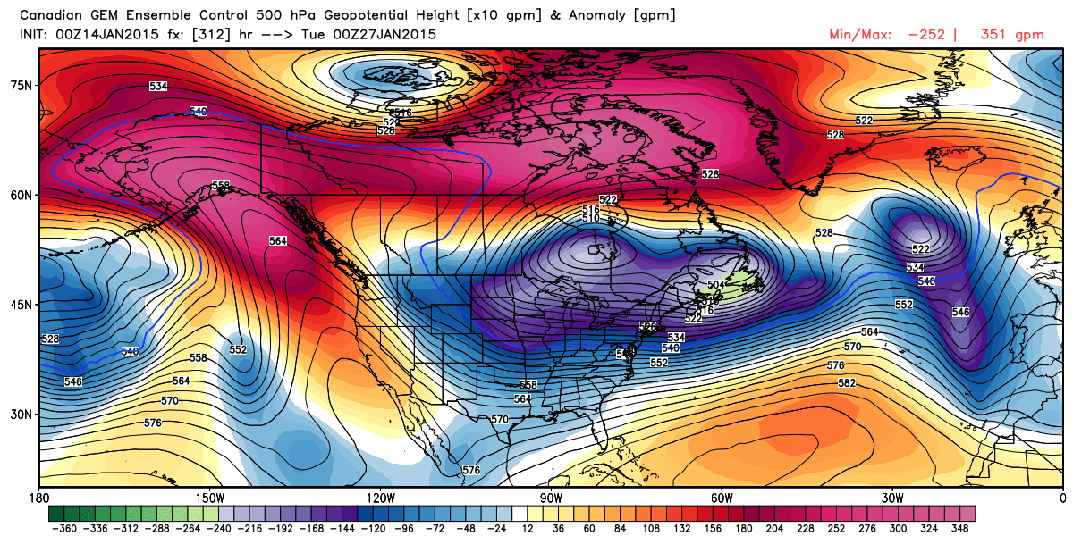 Mean 500 mb (18,000 feet) flow and height anomalies on January 26, at 6:00 PM