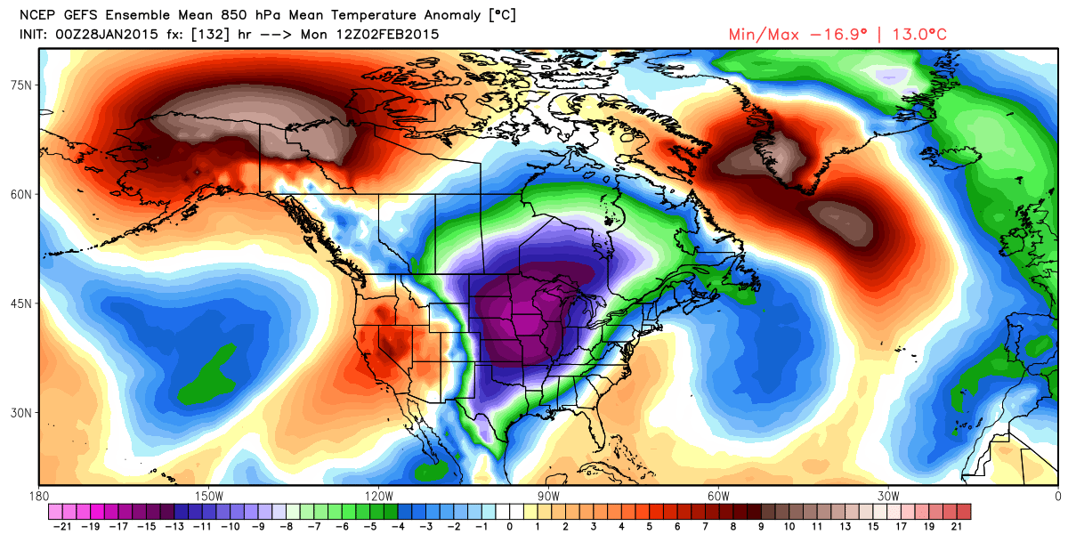 Projected Temperature Anomalies at 850 mb  for Monday, February 2, 2015