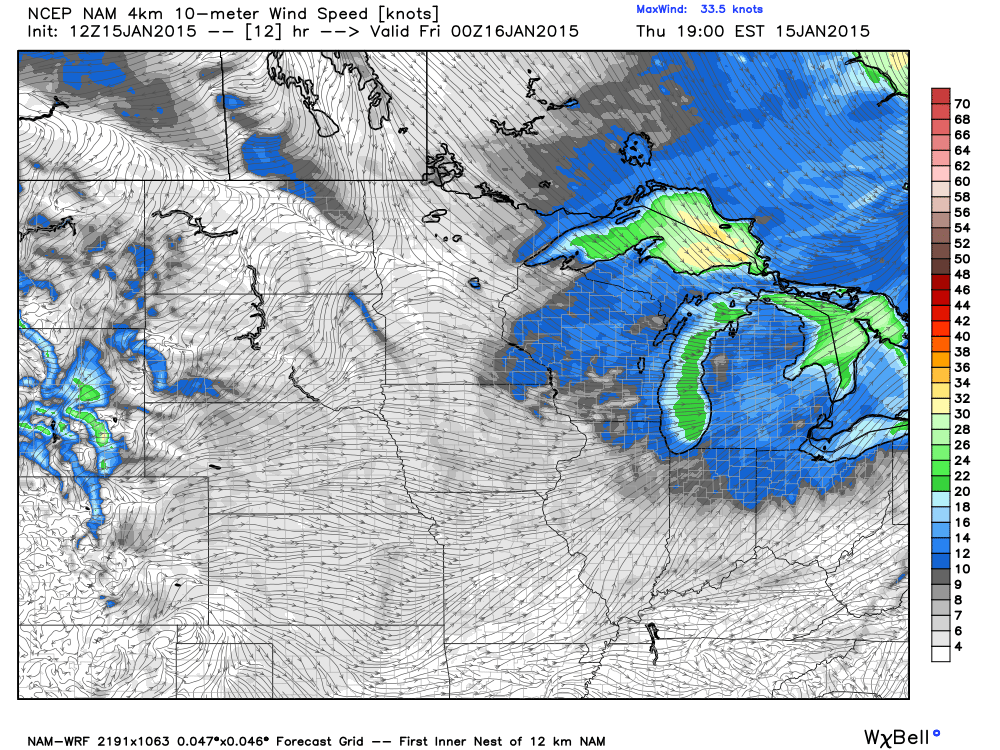 Projected Wind Speed and Direction at 6:00 PM Thursday, January 15, 2015