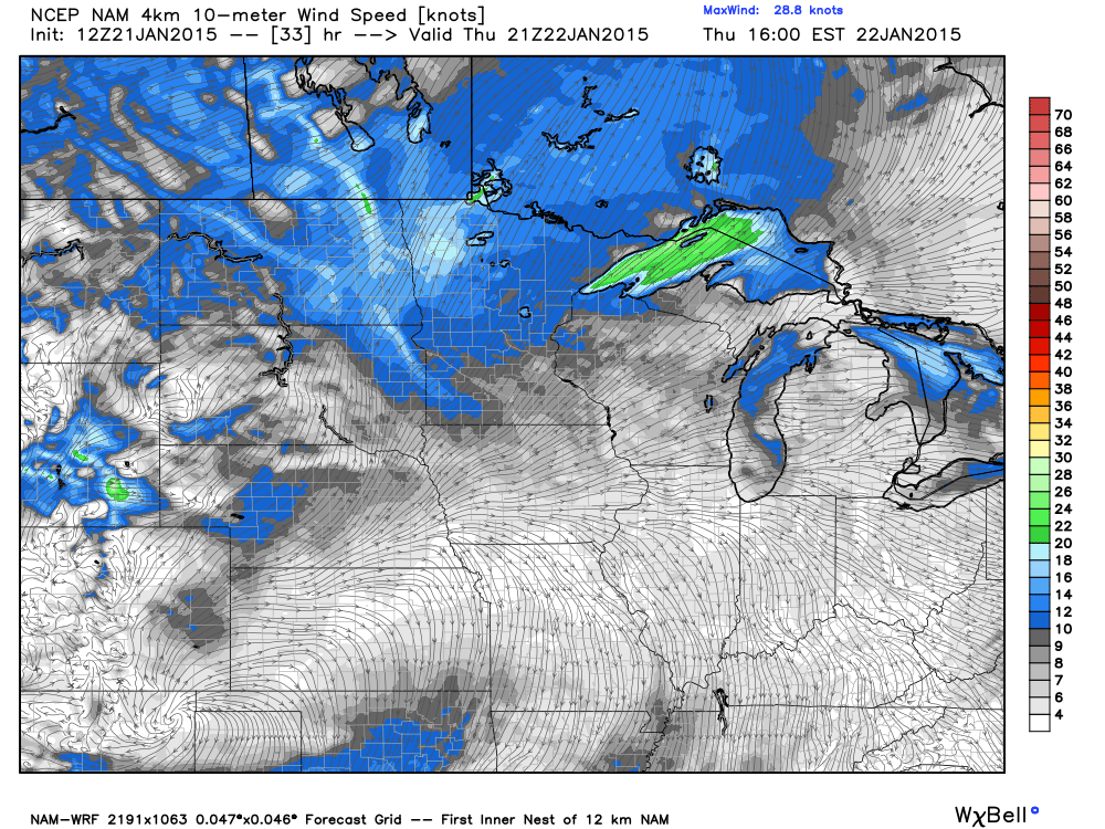 Wind Direction and Speed Estimates for Thursday