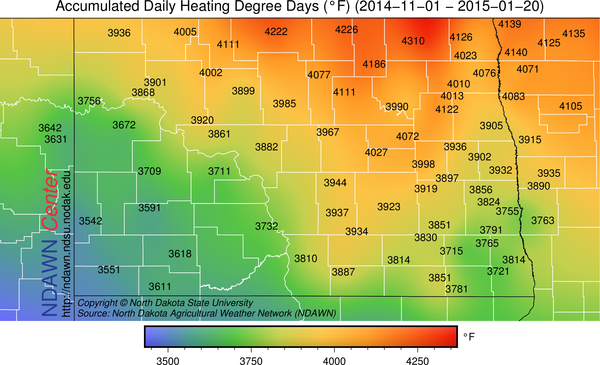 HDDs across the North Dakota Agricultural Weather (NDAWN) stations since November 1, 2014