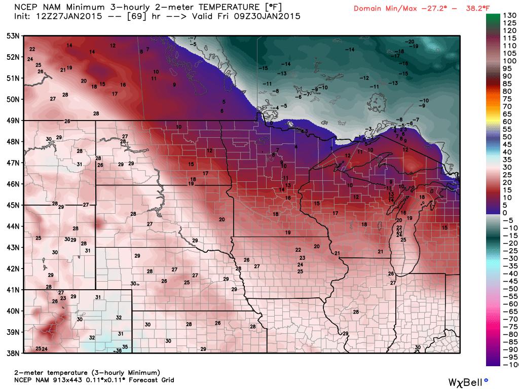 Thursday Night/ Friday Morning Temperatures