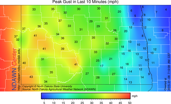 peak wind gust around 7:30 AM
