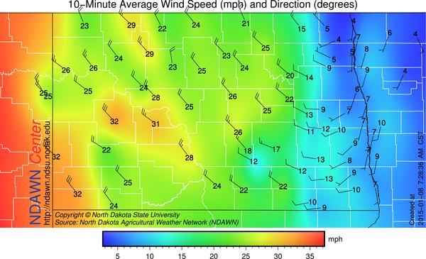 Average wind speed at 7:30 AM