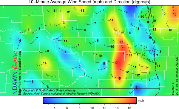 8:45 AM Wind Speed and Direction
