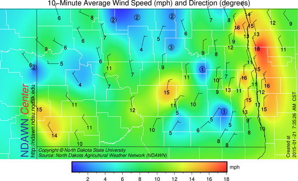 Morning Wind Speed and Direction